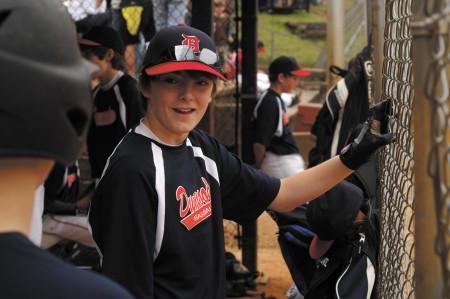 Jackson Fobas waits his turn at bat during a Dunwoody Senior Baseball game at Dunwoody Park on March 9.