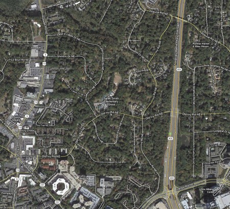 Five high-end homes are planned in Buckhead. Work on the houses, to be located at the area outlined above, could begin as soon as June.