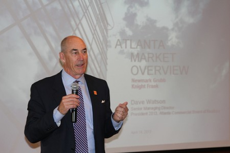 Dave Watson, 2013 president of the Atlanta Commerical Realtors Board, speaks to the Buckhead Business Association on April 18.