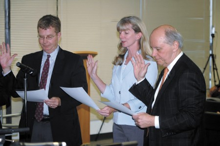 Members of  the Brookhaven Development Authority are sworn in April 9. From left, Tim Peaden, Susan Coker and Pat Hoban.