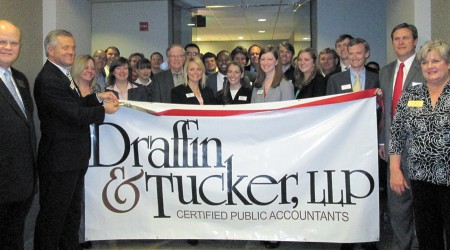 Albany-based Draffin & Tucker, LLP, a certified public accounting firm, recently opened a branch office at Five Concourse Parkway, Suite 1250,  in Sandy Springs, and celebrated with the Dunwoody Chamber of Commerce and the Sandy Springs/Perimeter Chamber of Commerce.  Far left, Dunwoody City Councilman Terry Nall and Steve Bedsole, partner, Draffin & Tucker, Atlanta office, with, far right, Jimmie Richter, partner, Draffin & Tucker, Atlanta office, and Diane Fries, Sandy Springs City Councilwoman.