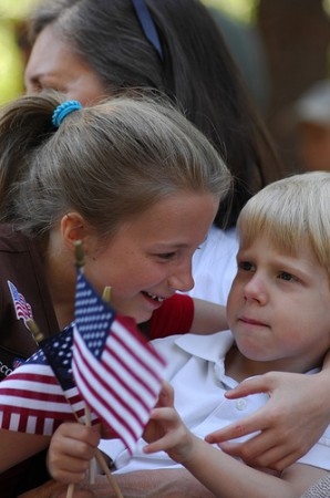 Dunwoody resident Ariana Wright, 8, and brother Joshua, 3, enjoy the festivities.