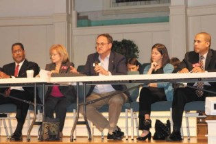 From left, Jason Lary, Michele Henson, Jeff Rader, Andrea Arnold and Rahn Mayo talk about possible cities in DeKalb County at a forum May 6.