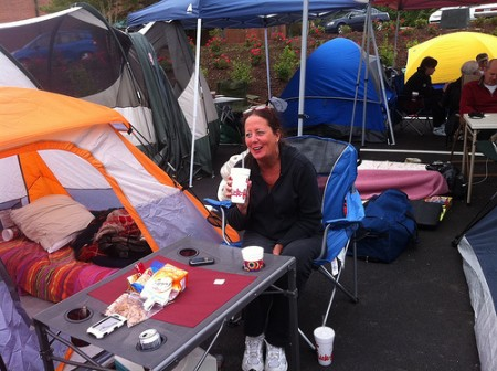 Kay McIntosh at her campsite outside a Dunwoody Chick-fil-A opening May 2. More than 100 Chick-fil-A fans planned to camp overnight at the restaurant in hopes of winning coupons for 52 free meals.