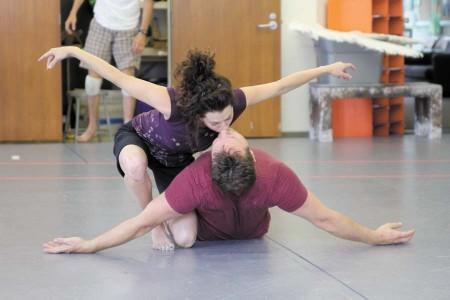 Park Krausen, kneeling, and Travis Smith, on floor, rehearse a scene from 'Metamorphoses' at Georgia Shakespeare.