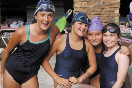 From left, Lizzie Wright, Victoria Vuicich, Maddy Bounar and Caroline Sellers, all part of the relay team.