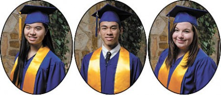 Tram Thuy Le, left, Valedictorian, Georgia Perimeter Baishen Huang, center, Salutatorian, Georgia Tech Michelle Leonard, Salutatorian, U of South Carolina