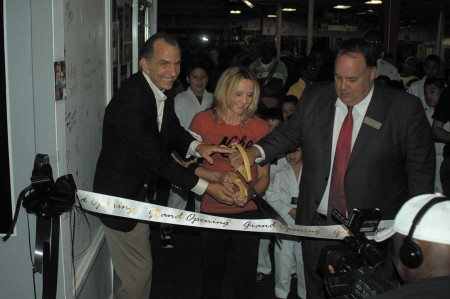 Brookhaven City Councilman Joe Gebbia, gym owner Terri Moss, Mayor J. Max Davis