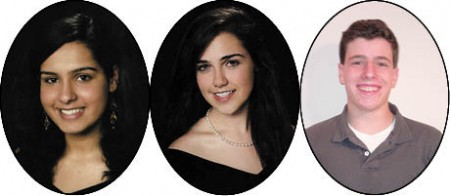 Hardika Dhir, left, Valedictorian, Georgia Tech Hayley Hopkins, center, Valedictorian, Northwestern Will Koval, Salutatorian, Emory