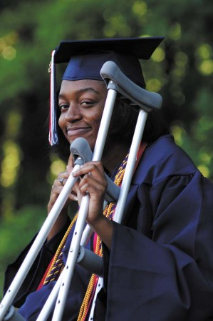 Erin Thomas twisted her leg playing kickball in a physical education class a few weeks before the graduation date. She was determined to walk for her diploma.