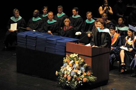 Principal Dr. Lisa Stueve addresses the crowd.
