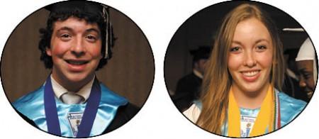 Ian Katz, left, Valedictorian, University of California Eva May, Salutatorian, Duke University