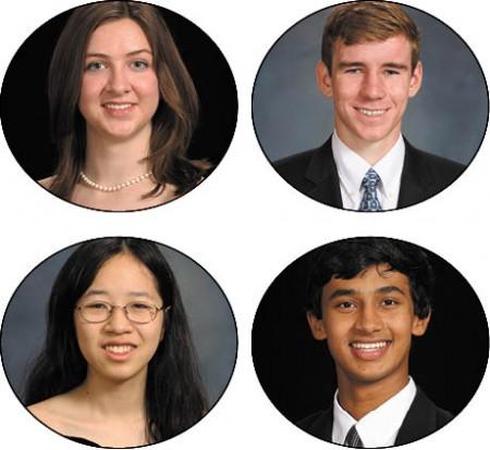 Meg Panetta, top left, Valedictorian, Harvard University Joe Sheehan, top right, Valedictorian, Princeton University Lilly Chin, bottom left, Salutatorian, MIT Kunal Kamath, Salutatorian, Duke University