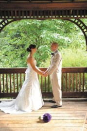 Couples can marry in the Heritage Green gazebo, as Elissa and Blake Daniel of Atlanta did last year.