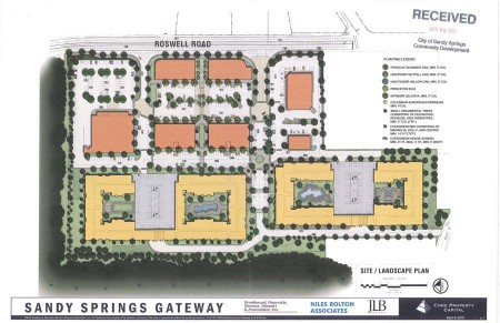 Revised plans for the development at the intersection of Windsor Parkway and Roswell Road near Chastain Park. These plans were created when the proposal was 700 units, not the 630 approved by the City Council.