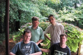 Evan Farris, front, left, with his roommates Matthew McWhorter, John David and Kenneth Whidby.