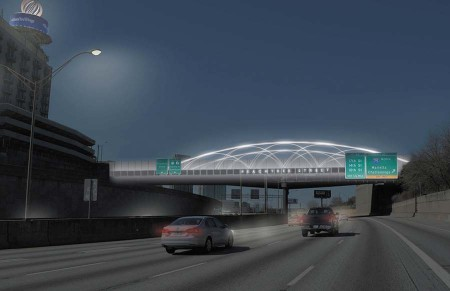 """The Gateway Connector Project will enhance """"the aesthetics"""" of the Peachtree Street bridge over I-85 on the Downtown Connector as well as one south of the Emory University Hospital Midtown complex."""