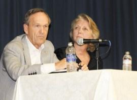 Sen. Fran Millar (R-Dunwoody) and state education department Deputy Superintendent Martha Reichrath,
