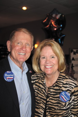 Councilman Denny Shortal and wife Meredy celebrate Shortal's re-election to the District 1, Post 1 seat on City Council.