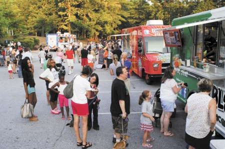 The city of Dunwoody held weekly 'Food Truck Thursdays' at Brook Run Park, to the delight of residents. The event offered families a chance to nibble, listen to live music, play at the playground and mingle with neighbors.