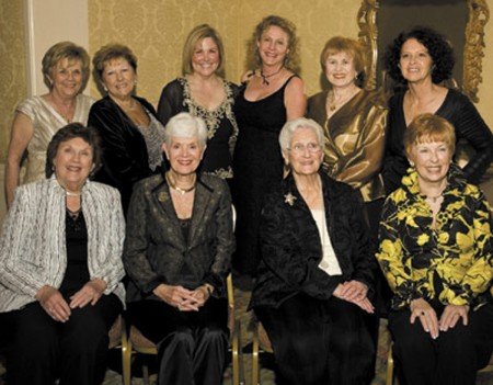 Some of the founders of the Sandy Springs Society gathered for a group photo several years ago. Pictured are: seated, left to right -- Marianne Lee, Saralyn Oberdorfer, Ann Chenault, Jan Collins; standing, left to right -- Lorellee Wolters, Dottie Megel-Sabre, Kerry Gill, Jill Wolfe, Judy Marks, Melanie Smith.