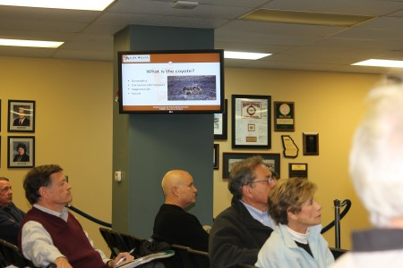 Sandy Springs residents listen during a Dec. 18, 2013 presentation on coyotes held at Sandy Springs City Hall.
