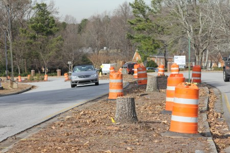 "Workers began clearing trees from the center median of Dunwoody Village Parkway on Dec. 10, and will remove the median and put in erosion control systems in January. The remodel, what the city calls its ""Main Street Project,"" is expected to take six to eight months to complete."