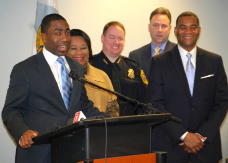 From left:  Interim CEO Lee May, Interim Presiding Officer Sharon Barnes Sutton, Interim Police Chief James Conroy, Assistant Police Chief Michael Yarborough and Fire Chief Darnell Fullum.