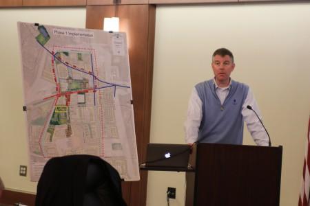 Sandy Springs City Manager John McDonough discusses the city's civic center proposal during a City Council retreat Jan. 14.