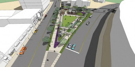The Buckhead Community Improvement District plans to construct a clock tower, add a statue in Charlie Loudermilk's name, include covered seating, and install grass and trees to the park bordered by Peachtree and Roswell roads, and Sardis Way.