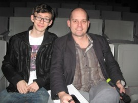 Assistant Director and writer Henry Ballard with North Springs' Drama/film teacher Steve Young at final rehearsals for Evelyn Evelyn.