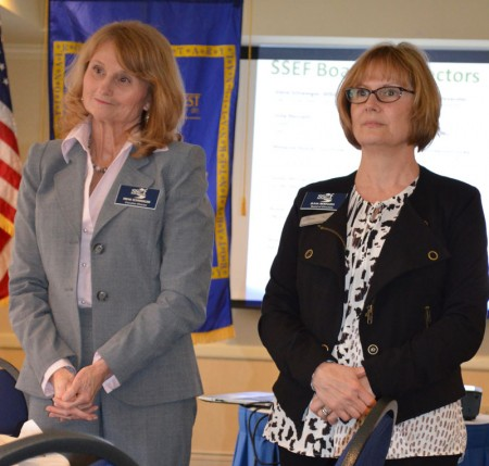 Sandy Springs Education Force executive director Irene Schweiger, left, and chairwoman Julia Bernath address members of the Rotary Club of Sandy Springs on Feb. 24.