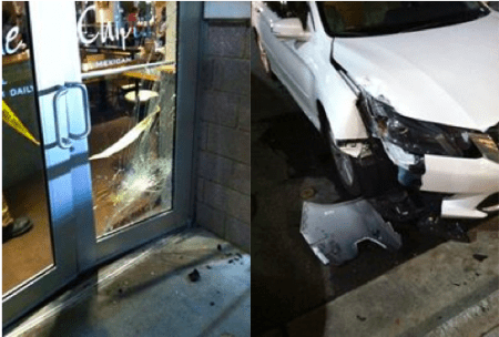 Damage to the Chipotle and the car that struck it at Perimeter Center West. (Courtesy Dunwoody PD)