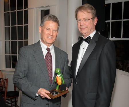 """Springs Publishing / Reporter Newspapers founder and publisher Steve Levene, left,  accepts the """"Small Business of the Year"""" award from Jim Kelley, board chair of the Sandy Springs/Perimeter Chamber of Commerce at the March 1 gala.   Photo by I-Kahn Imagery Photography"""