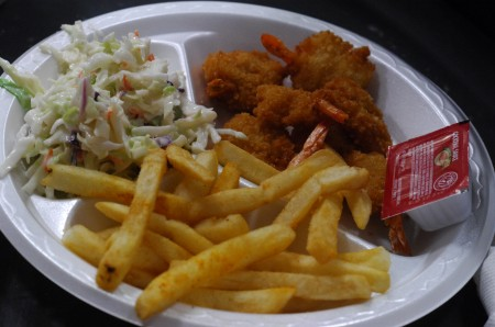 A shrimp dinner offered at the All Saints Catholic Church fish fry.
