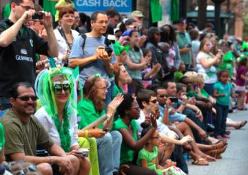 Crowds watch last year's St. Patrick's Day Parade along Peachtree. (Courtesy Atlanta St. Patrick's Day Parade)