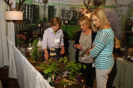 Mary Palmer Dargan, exhibitor and owner of Dargan Landscape Architects shows her miniature landscapes to Judy Whitmer, and Connie Muldoon at the Buckhead Theater on April 26. The Southeastern Horticultural Society presented the Garden Show in Buckhead.
