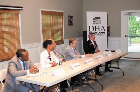 Left to right, Senate District 40 candidates Ben Truman, Tamara Johnson, Dick Anderson, Fran Millar and House District 79 candidate Tom Taylor meet with members of the Dunwoody Homeowners Association.