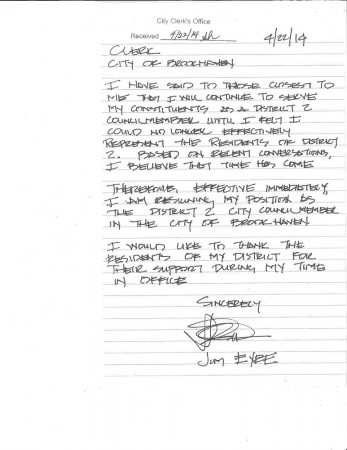 Former Brookhaven City Councilman Jim Eyre resigned his seat on April 22. Eyre said in a hand-written statement that he felt he could no longer effectively represent his district.