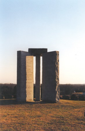 The Georgia Guidestones, sometimes described as an 'American Stonehenge,' can be found north of Atlanta, in Elbert County.