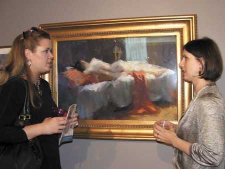 Cathryn Budd, left, and Melissa Saulsbury, right, share their thoughts on the exhibition.