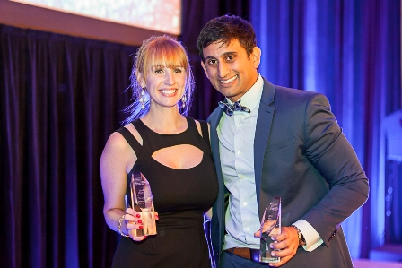 Buckhead resident Krystall Waters is the LLS Georgia Chapter Woman of the Year. Pictured with her is Man of the Year Neal Shah.