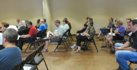 District 2 residents gather for a town hall in Ashford Park.