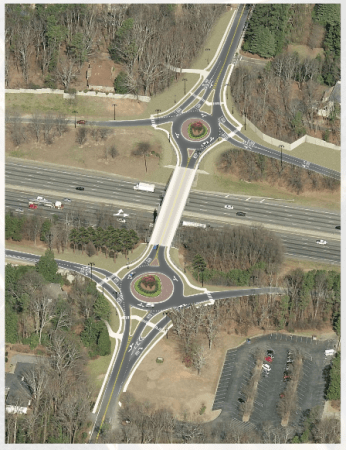 A GDOT rendering of the proposed roundabouts on Riverside Drive.