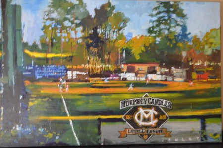 This painting of Murphy Candler Park by Steve Penley will be auctioned on Ebay, with proceeds benefitting the little league's capital campaign.