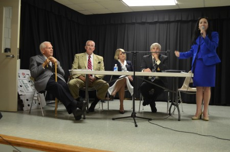 Candidates for the District 1 seat on the DeKalb County Commission speak to members of the Tucker Civic Assoication on Sept. 18. The candidates, left to right, area: (seated) Holmes E. Pyles, Tom Owens, Wendy Butler, Larry Danese and (standing) Nancy Jester.