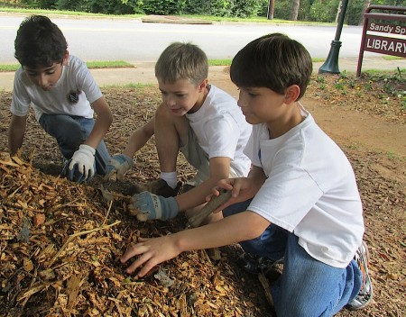 From left, Mount Vernon third-graders Curran Jolly, Zack Betz and Brooks Scarborough lay down mulch at the Sandy Springs Library.