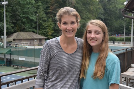 Lee Loughran and her daughter Khaki at the Brookwood Hills Community Club's clubhouse.