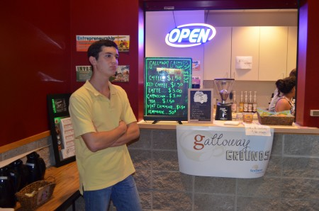 Galloway senior Drew Evans came up with the idea of a school coffee shop in seventh grade, and grants helped it become a reality. The shop is a project for those in economics classes, to gain practical experience.