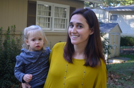 """Camila Knowles, with daughter Lola-Cooper at their home on Lee Circle. The area is """"tucked away, but right in the middle of everything,"""" says Knowles."""